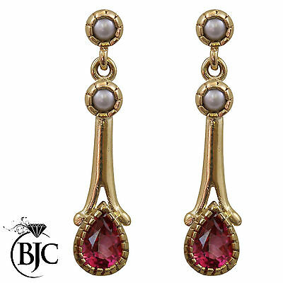 BJC® 9ct Yellow Gold Pink Topaz & Pearl Teardrop Drop Stud Earrings Studs ER60