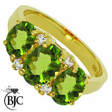 Load image into Gallery viewer, BJC® 9ct Yellow Gold Peridot & Diamond Trilogy Size O Engagement Dress Ring R143
