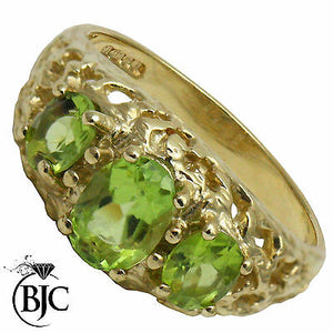 BJC® 9ct Yellow Gold Peridot 1.00ct Trilogy Vintage Style Size N Ring R148