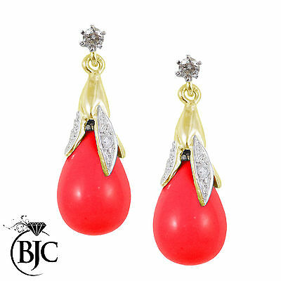 BJC® 9ct Yellow Gold Red Coral & Diamond Briolette Drop Dangling Stud Earrings