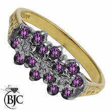 Load image into Gallery viewer, BJC® 9ct Yellow Gold Amethyst & Diamond Triple Cluster Engagement Ring R264