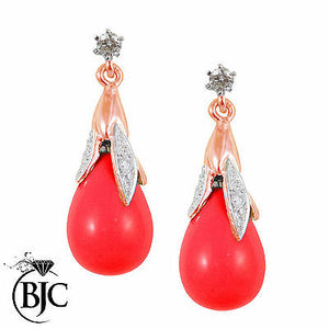 BJC® 9ct Rose Gold Red Coral & Diamond Briolette Drop Dangling Stud Earrings