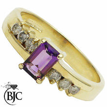 Load image into Gallery viewer, BJC® 9ct Yellow Gold Amethyst & Diamond Solitaire Accented Engagement Ring R256