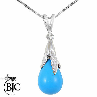 BJC® 9ct White Gold Turquoise & Diamond Briolette Drop Pendant / Necklace