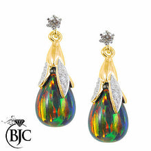 Load image into Gallery viewer, BJC® 9ct Yellow Gold Black Opal & Diamond Briolette Drop Dangling Stud Earrings