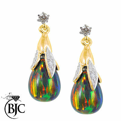 BJC® 9ct Yellow Gold Black Opal & Diamond Briolette Drop Dangling Stud Earrings