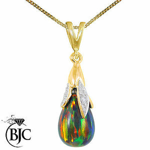 BJC® 9ct Yellow Gold Black Opal & Diamond Briolette Drop Pendant / Necklace