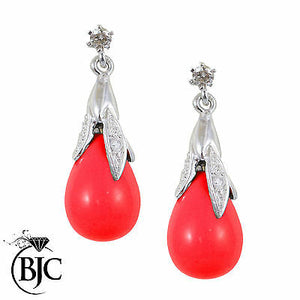 BJC® 9ct White Gold Red Coral & Diamond Briolette Drop Dangling Stud Earrings