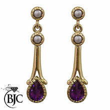 Load image into Gallery viewer, BJC® 9ct Yellow Gold Amethyst & Pearl Teardrop Drop Stud Earrings Studs ER68