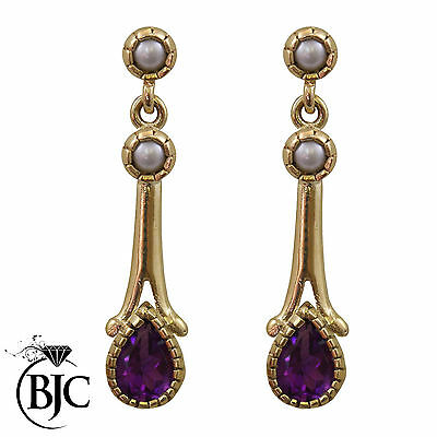 BJC® 9ct Yellow Gold Amethyst & Pearl Teardrop Drop Stud Earrings Studs ER68