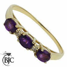 Load image into Gallery viewer, BJC® 9ct Yellow Gold Amethyst & Diamond Half Eternity Engagement Ring R261