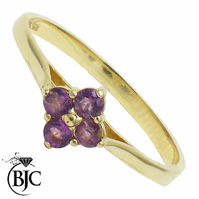 BJC® 9ct Yellow Gold Amethyst 4 Stone Cluster Solitaire Engagement Ring R257