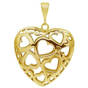 Beautiful Large 9ct Yellow Gold Hearts of Hearts Pendant Stunning design