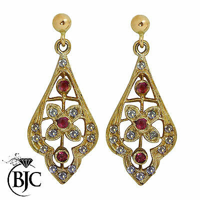 BJC® 9ct Yellow Gold Ruby & Diamond Drop Dangling Hanging Earrings Studs ER43