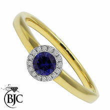 Load image into Gallery viewer, BJC® 9ct Yellow Gold Sapphire & Diamond Cluster Size N Engagement Dress Ring R59