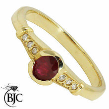 Load image into Gallery viewer, BJC® 9ct Yellow Gold Ruby & Diamond Solitaire Size M Engagement Dress Ring R31