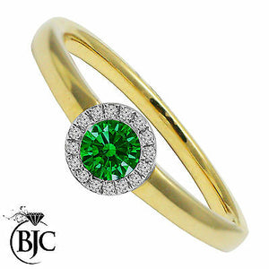 BJC® 9ct Yellow Gold Emerald & Diamond Cluster Size N Engagement Dress Ring R41