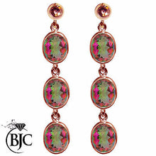 Load image into Gallery viewer, BJC® 9ct Rose Gold Natural Mystic Topaz Triple Drop Dangling Studs Earrings