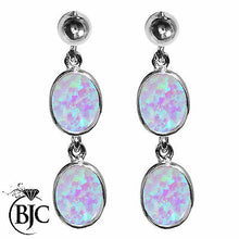 Load image into Gallery viewer, BJC® Sterling Silver Cultured Opal Oval Double Drop Dangling Studs Earrings