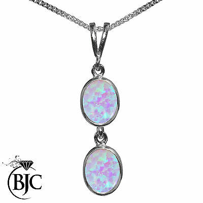 BJC® 9ct White Gold Fiery White Opal Double Drop Oval Pendant & Necklace