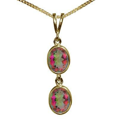 BJC® 9ct Yellow Gold Natural Mystic Topaz Double Drop Oval Pendant & Necklace
