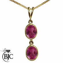 Load image into Gallery viewer, BJC® 9ct Yellow Gold Natural Pink Topaz Double Drop Oval Pendant & Necklace