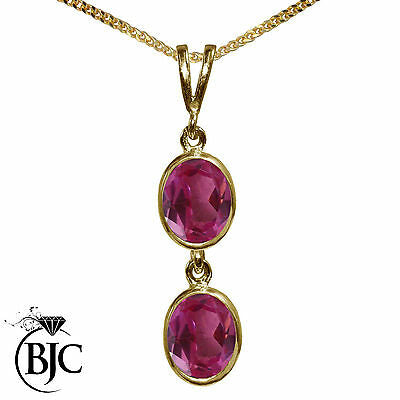BJC® 9ct Yellow Gold Natural Pink Topaz Double Drop Oval Pendant & Necklace