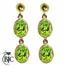 Load image into Gallery viewer, BJC® 9ct Yellow Gold Natural Peridot Oval Double Drop Dangling Studs Earrings