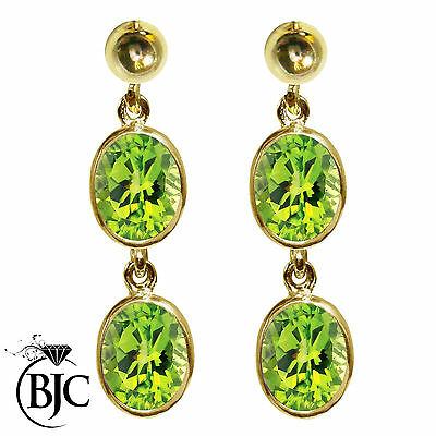 BJC® 9ct Yellow Gold Natural Peridot Oval Double Drop Dangling Studs Earrings