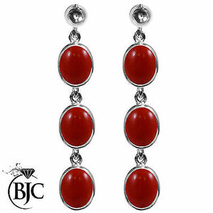 BJC® Sterling Silver Natural Red Coral Triple Drop Dangling Studs Earrings