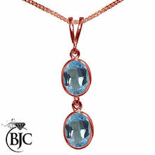Load image into Gallery viewer, BJC® 9ct Rose Gold Natural Blue Topaz Double Drop Oval Pendant & Necklace