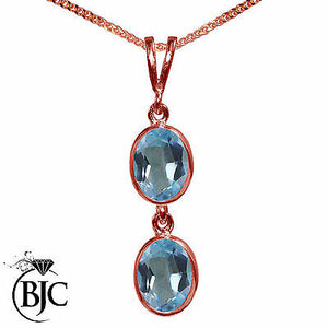 BJC® 9ct Rose Gold Natural Blue Topaz Double Drop Oval Pendant & Necklace