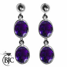 Load image into Gallery viewer, BJC® Sterling Silver Natural Amethyst Oval Double Drop Dangling Studs Earrings