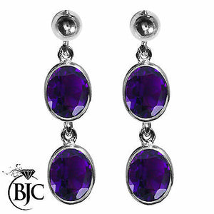 BJC® Sterling Silver Natural Amethyst Oval Double Drop Dangling Studs Earrings
