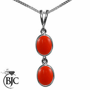BJC® 9ct White Gold Natural Peach Coral Double Drop Oval Pendant & Necklace