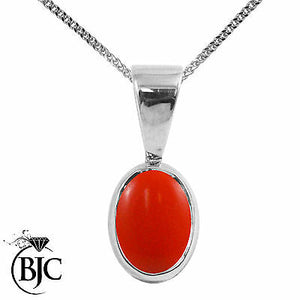 BJC® 9ct White Gold Natural Peach Coral Solitaire Drop Oval Pendant & Necklace