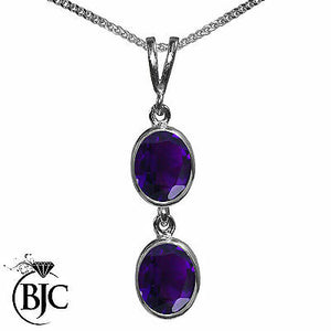 BJC® 9ct White Gold Natural Amethyst Double Drop Oval Pendant & Necklace