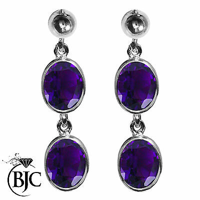 BJC® 9ct White Gold Natural Amethyst Oval Double Drop Dangling Studs Earrings