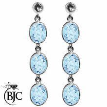 Load image into Gallery viewer, BJC® Sterling Silver Natural Blue Topaz Oval Triple Drop Dangling Studs Earrings