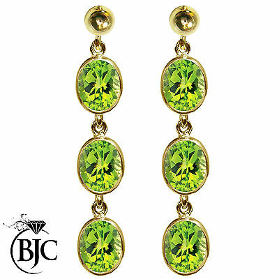 BJC® 9ct Yellow Gold Natural Peridot Oval Triple Drop Dangling Studs Earrings