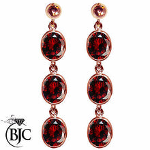 Load image into Gallery viewer, BJC® 9ct Rose Gold Natural Almandine Garnet Triple Drop Dangling Studs Earrings