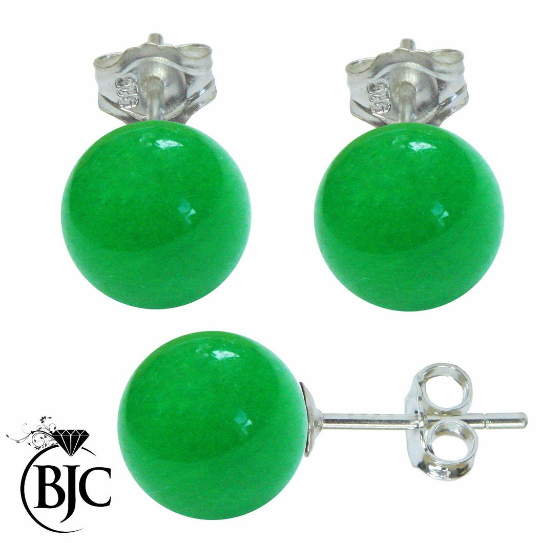 BJC® Stunning Ladies Sterling Silver Malay Jade Ball Stud Earrings Brand New