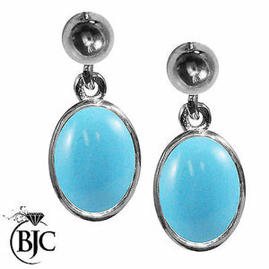 BJC® 9ct White Gold Natural Turquoise Oval Single Drop Dangling Studs Earrings