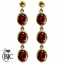 Load image into Gallery viewer, BJC® 9ct Yellow Gold Natural Garnet Oval Triple Drop Dangling Studs Earrings