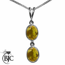Load image into Gallery viewer, BJC® 9ct White Gold Natural Citrine Double Drop Oval Pendant & Necklace