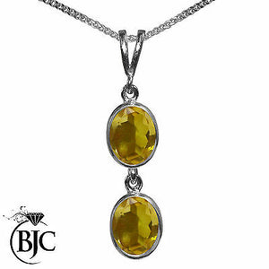 BJC® 9ct White Gold Natural Citrine Double Drop Oval Pendant & Necklace