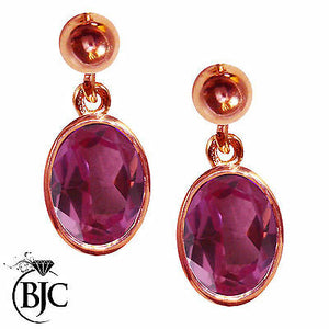 BJC® 9ct Rose Gold Natural Pink Topaz Oval Single Drop Dangling Studs Earrings
