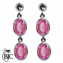 Load image into Gallery viewer, BJC® 9ct White Gold Natural Pink Topaz Oval Double Drop Dangling Studs Earrings