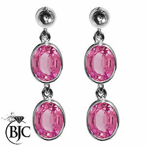 BJC® 9ct White Gold Natural Pink Topaz Oval Double Drop Dangling Studs Earrings