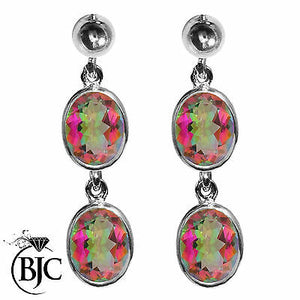 BJC® 9ct White Gold Natural Mystic Topaz Double Drop Dangling Studs Earrings